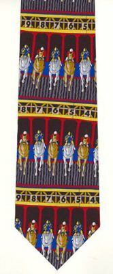 Novelty Horse Racing Tie Silk Great design with horses coming out the stalls