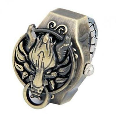 Coostyle Vintage Copper Dragon Quartz Clamshell Ring Watch (With Gift Box...