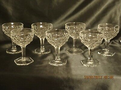 7 FOSTORIA Glass AMERICAN Hex Footed SHERBETS Clear Crystal