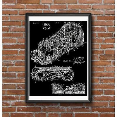 Harry Traver Cyclone Roller Coaster Patent Image Poster - World's Scariest Ride