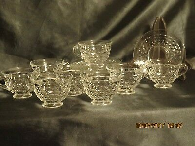 8 FOSTORIA Glass AMERICAN Cup & Saucer SETS Clear Crystal