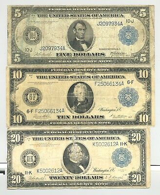 $5, $10, and $20 Series 1914 Federal Reserve Notes no reserve