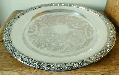 SUPERB VINTAGE CIRCULAR SHEFFIELD SILVER PLATED TRAY Cast Floral Rim 3 Dome Feet