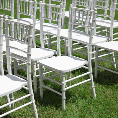 (10-Pack) White Chiavari Stackable Wood Wedding Party Venue Banquet Chairs
