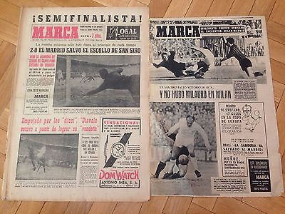 Marca And Especial 14 February 1964 Real Madrid Milan San Siro European Cup
