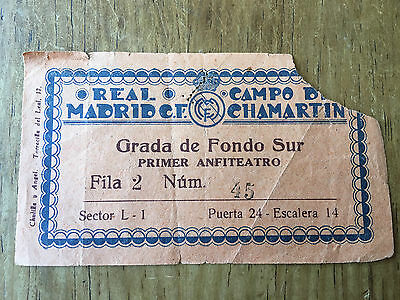 Entrada Ticket Real Madrid Spain Fulham England Friendly 22 May 1949 Very Rare!!