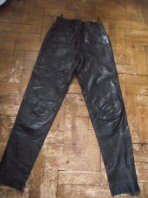 Vintage retro ladies black leather trousers size 10