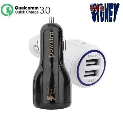 Powstro Qualcomm Quick Charge 3.0 Dual USB 3.1A Car Charger for Samsung HTC LG