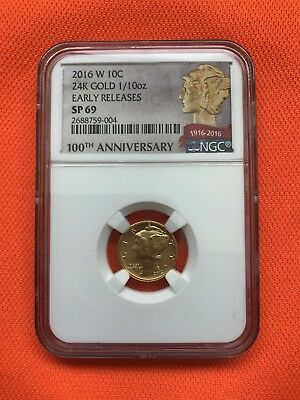 2016 W Gold Mercury Dime Graded Early Releases Ngc Sp69 Sold Out