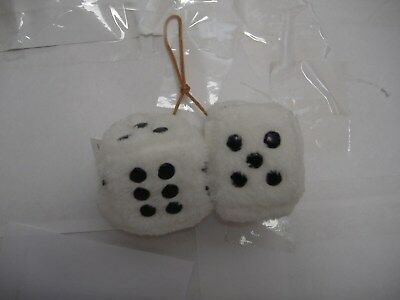 "Plush Fuzzy Dice White  2"" Inches Hang On  Your Car Mirror"