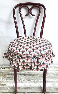 Antique Plum lacquer painted swirl bent wood cane seated chair with cushion