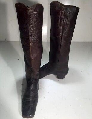Antique Original Civil War Soldier Leather Boots Confederate Officer Cowboy