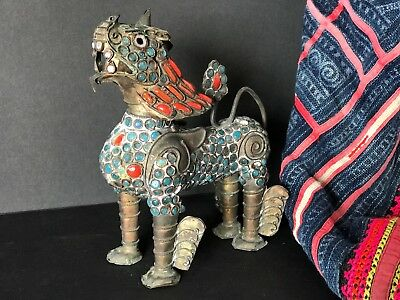 Old Tibetan Brass Foo / Fu Dog Lion …beautiful red coral and turquoise stones