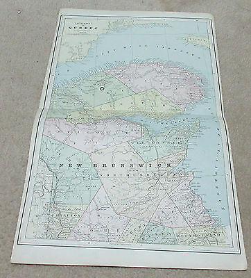 1890 ORIGINAL Map - Eastern part of Quebec / New Brunswick