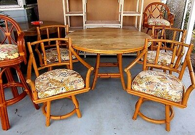 5 PC VTG Ficks Reed Mid Century Modern Rattan Bamboo Table & Chairs ...