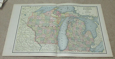 1890 ORIGINAL Map -  Michigan and Wisconsin - Indiana, Illinois