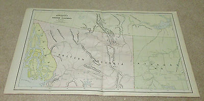 1890 ORIGINAL Map - Athabaska and British Columbia
