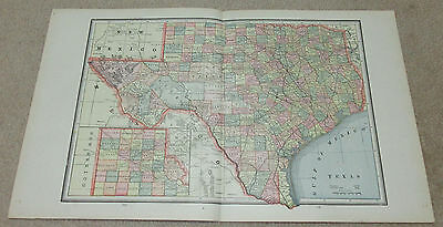 1890 ORIGINAL Map - Texas, Arkansas, Indian Territory