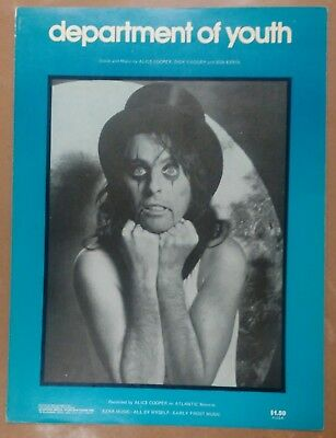 Vtg 1974 1975 Alice Cooper Department of Youth Sheet Music Welcome to Nightmare