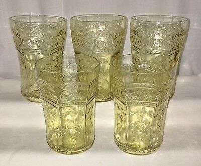 """5 Federal PATRICIAN AMBER * 4 1/4""""- 9 oz WATER TUMBLERS*"""
