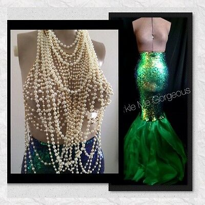 USA Expedite Shipping - Sexy Adult Pearl Mermaid Costume Halloween - S M L XL