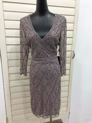 Adrianna Papel  v-neck beaded 3/4 sleeve cocktail dress size 12