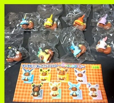 Eievui Eevee Poncho Figure Collection all 8 complete Japan Pokemon center
