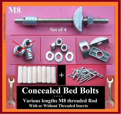 BZP Pk 2-8.Bed//Bunk Bolts//LARGE Half Moon//Crescent Nuts//Washers.70mm x 6mm Bolt