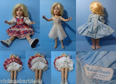 "Vintage Antique Girl Doll 13"" Composition Madame Alexander Dress Tagged Panties"