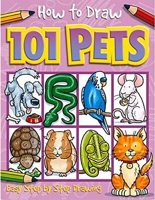 HOW TO DRAW 101 PETS children's drawing book animals dogs cats birds fish