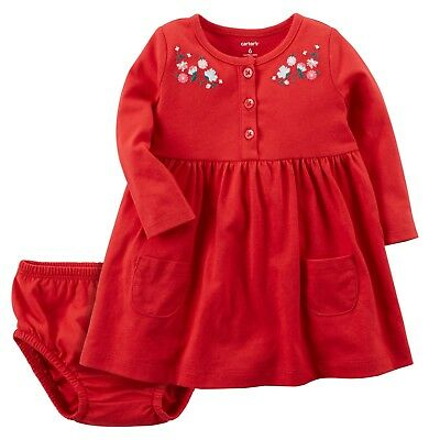 Carters Baby Girl Long Sleeve Red Floral Cotton Dress 12 & 24 Months NWT