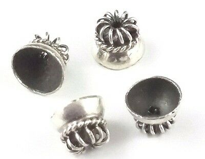 4 x Ornate 5mm Sterling Silver Oxidized Bead Caps for Jewelry Making Bali  (129)