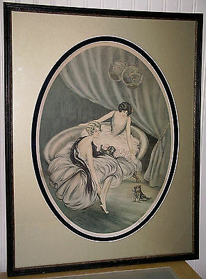 Antique Boudoir Artprint TWO GIRLS with TWO DOGS, Louis Icart Era, Signed