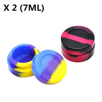 2 X 7ML Nonstick Silicone Container Silicone Case Jars For Concentrate Oil Wax