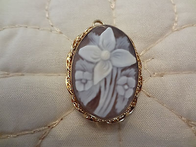 Vintage 1/20- 12K G.f. Cameo Flower Pendant Or Pin--Looks Brand New