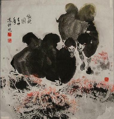 Pair of Camels Ink and WC Painting Yang Zhi b.1962