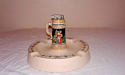 Ceramic Ashtray with Beer Stein Lighter made in Germany