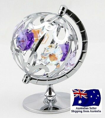 CRYSTOCRAFT Spinning Globe Ornament with SWAROVSKI CRYSTALS