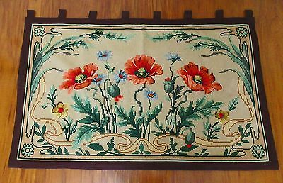 Rare Hd Made Antique,vtg Art Nouveau Wool Yarn Needlepoint Wall Hanging,jacobean