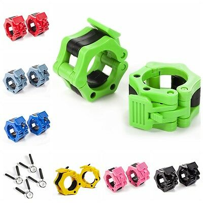 """1-2"""" Olympic Spinlock Collars Barbell Dumbell Clip Clamp Weight Bar Lock Fitness"""