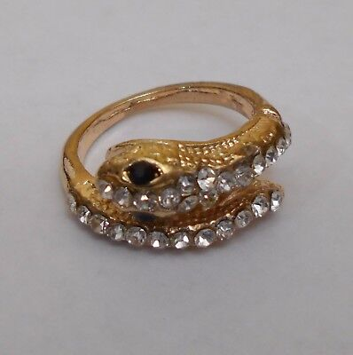 Coiled Snake Silver or Gold Tone White Rhinestones Black Eyes  Size 7 US