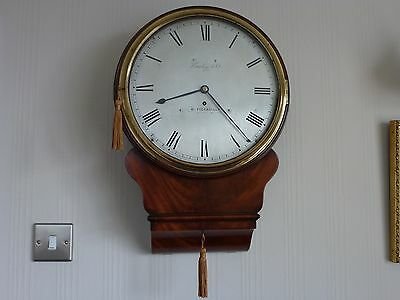 Fantastic Antique Mahogany brass  silvered Dial Fusee Drop dial clock c 1810