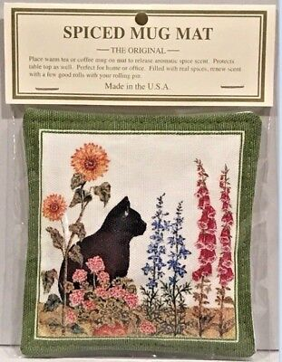 ALICE'S COTTAGE Cotton Scented Spiced Mug Mat Coaster BLACK CAT GARDEN USA - NEW