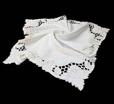 Vintage embroidered cutwork square roses supper cloth measuring 85cm x 85cm