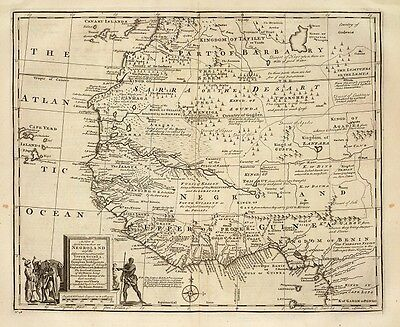 Negroland Map - 1747 Map of West Africa. Excellent Paper & Print Quality.