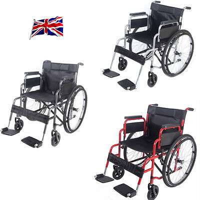 Folding Wheelchair Self Propelled Lightweight Transit Footrest Armrest Brake
