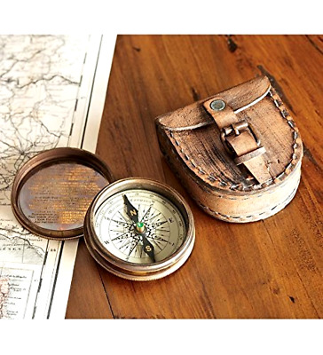 Vintage Classic Antiqued Brass Poem Compass With Brown Leather Case New Gift