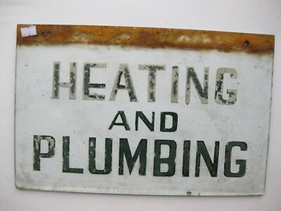 24888 Old Vintage Sign Advert Notice N0t Enamel Plumber Heating Engineer Glass
