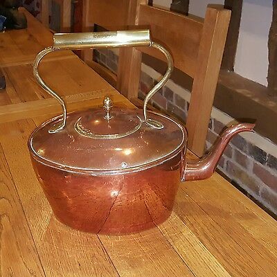 huge victorian copper and brass fireside kettle