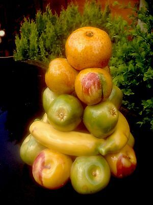 Italian Mixed Fruit Apples Bananas Oranges Stacked Majolica Style Centrepiece